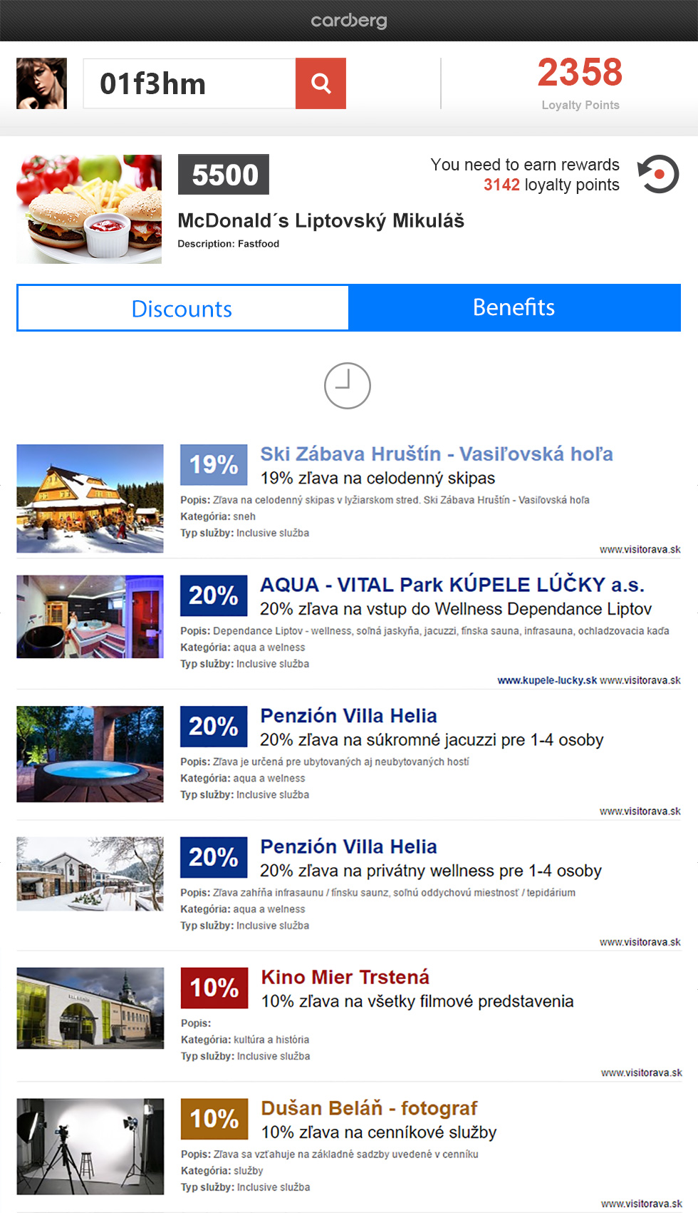 The export of discounts is easy to implement on any web page. The export summarises all current discounts of the tourist that are active at that moment.